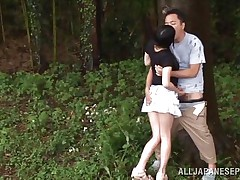 She is hot and goes wild in the forest. Check out this cutie named Tsubomi, a young asian whore that likes to suck a hard dick, no matter if she does it in the comfort of her abode or in the middle of a forest! She kneels like a good Japanese bitch and gives oral with obedience while preparing for a hard fuck