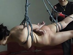 The executor didn't just humiliated this brunette Nippon milf, he brooked her self esteem and no this babe accepts her fate. She hangs there and then this babe is lowered only to stay in cowgirl position. After some more humiliation this babe acquires a hardcore fuck from behind that makes her pretty mouth moan and her boobs bounce