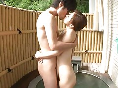 Hot japanese slut Chihiro has her pussy licked by her horny boyfriend. Then, this babe stands on her feet and kiss him before grabbing his hard cock with her dirty mouth. On her knees and with a dick in her mouth is the best thing for her! The bitch spreads her legs and let him stick his cock in her tiny vagina.