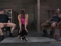 She's sexually broken in a way that this babe deserves. Ava always liked to suck a cock and this time this babe does it blindfolded. Two males are sitting on chairs, one white and the other one black. That babe sucks them one at the time, not knowing who is who. Perhaps the smack of cum will make a difference.