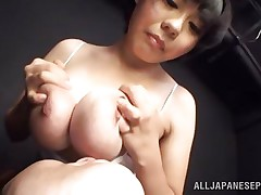 She's a hotty and can't live without pleasuring a man with those big soft breasts. She takes them out of her shirt, squeezes them and then allows this guy to lick and suck her nipples. This cutie enjoy it and probably she will just love to be repaid with a hard fuck betwixt her boobs, maybe some semen too!