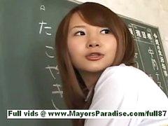 Super hawt asian schoolgirl in the classroom