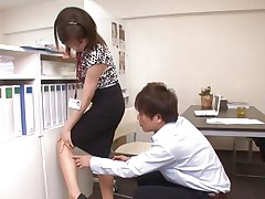 Ai Komori and her coworker are in the office working on a project together. Ai keeps looking for files and her coworker uses each opportunity to check out that sexy ass of hers. She gets a run in her pantyhose and he comes to check it out, then hikes her skirt, rubs her, and starts nailing her.