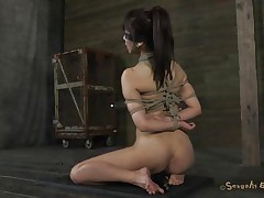 With a pair of lips like those Marica is the one that torments her executor! Her lips are amazing, so big and sweet, just begging for a hard cock and some warm semen on them. The man blindfolded this beauty, tied her up and used suckers on her natural breasts. Now that's she's tied up and knelt he mouth fucks her