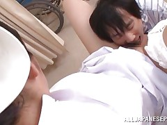 With a very hairy cunt between her thighs, nurse Akari is making this guy and us horny. She spreads those beautiful legs and moans whilst the man fingers her pussy and gives it a few mean licks. He licks her love melons too and it seems that the cute nurse is ready for a deep hard fuck, wish to see some more?