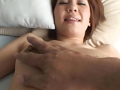 Pretty Asian mother i'd like to fuck sucks on hard schlong and her hirsute cunt fingered