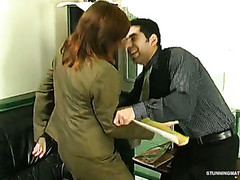 Aged honey seducing Caucasian dude into hardcore play right in the office