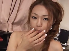 Busty Asian gal with curly muff feels dick and twat in aperture